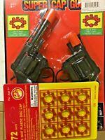Super Cap Guns Set Toy Pistol & Handgun Fires 8 Shot Ring Caps  w/one card