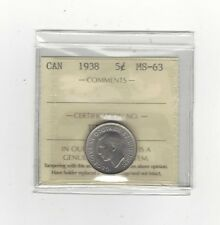 1938  ICCS Graded Canadian,  5 Cent, **MS-63**