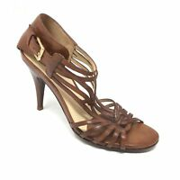 Women's Cole Haan Sandals Heels Shoes Size 8B Brown Leather Strappy Buckle J5
