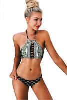 CUPSHE Women's Black Lace Up Halter Padding Bikini Set (L), Black, Size Large