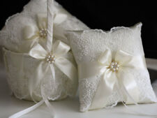 Lace Bearer Pillow Ivory Wedding Flower Lace Ring bearer Girl Basket Set