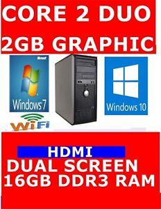 DELL TOWER COMPUTER PC CORE 2 DUO 2GB GRAPHIC HDMI DUAL SCREEN 1TB 16GB RAM