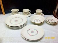 20 Dish Set Translucent China by Harker Flower Design Made in USA