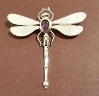 """Anhänger/Brosche,925er Silber,""""Libelle"""",mit weissem Perlmutt und 1 Amethyst"""