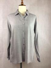 J. Jill Womens Size XS Gray Tunic Top Button Front Shirt Long Sleeve High & Low
