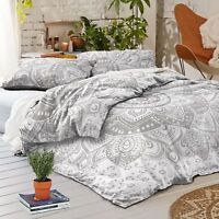 Mandala Duvet Doona Cover Indian Silver Floral Hippie Bohemian Blanket Cover Set