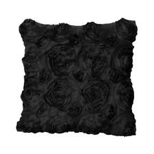 42cm Decorative Embroidered Satin Rose Throw Cushion Cover Pillow Case Black