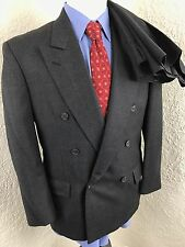 Tweed Gray Houndstooth Windowpane Double Breasted Suit 38 Short 30 X 29.5 Wool