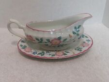 Churchill English Tableware Staffordshire, Briar Rose, Gravy Boat/Underplate