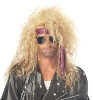 Blonde Rocker Dude Wig Heavy Metal Costume 1980's Rockstar Hair Hairpiece New