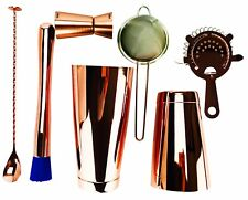 7 Piece Copper Cocktail Set, 28 & 18oz Tin, 2 Strainers, Spoon, Muddler & Jigger