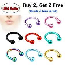5pcs Stainless Steel Nose Horseshoe Hoop Rings Eyebrow Lip Ear Tragus Septum 16G