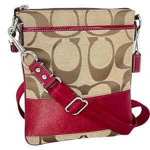 Coach Swingpack Khaki Signature Red Strap / Crossbody Bag w/ Two Slip Pockets