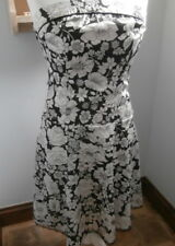 Jane Norman Strapless Dress Size 12 Black and White floral Party