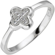 Ring Silberring mit Zirkonia Kleeblatt Kreuz abgerundet 925 Silber Fingerring