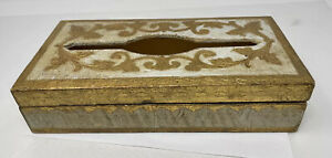 """Florence Italy Gold wooden Tissue Box 11 X 5.5 X 2.5"""""""