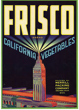 Original Frisco 1940 Vintage Crate Label Vegetables Salinas California