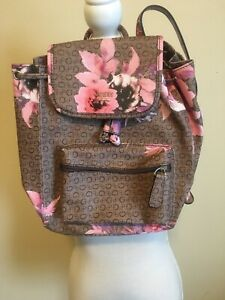 GUESS Women's Brown~Floral Print  With G Logo Backpack Handbag Purse