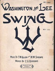 Washington And Lee Swing 1939 Anchor Cover Sheet Music