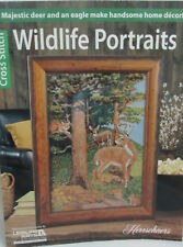 Leisure Arts Wildlife Portrait Cross Stitch Pattern Chart Book - Deer & Eagle