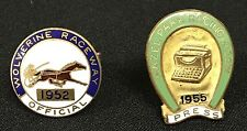 SCARCE VINTAGE PAIR OF OFFICIAL PRESS PINS HARNESS RACING FROM THE 1950'S