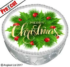 """PRE-CUT MERRY CHRISTMAS CAKE C X. TOPPER 7"""" / 18CM EDIBLE WAFER PARTY DECORATION"""