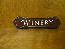 """WINE SIGNS #33867J WINERY, 3.25"""" x 12"""" NEW from Retail Store, metal/hanger"""