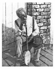 1900s era vintage photo-Old African American man leaning on banjo-8x10 in