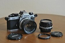 Nikon FM2N 35mm Camera w/ Nikkor Ais 50mm f/1.8 & Soligor 28mm f/2.8 Lenses