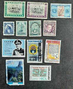 Guatemala lot of 11 used stamps & one mint Uruguay stamp