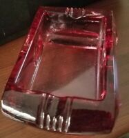 VINTAGE Rose Magenta Purple Rectangle Ashtray 2 Slots Glass 3 x 5 heavy thick