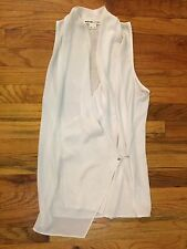 Helmut Lang Intermix White Sleeveless Blouse Tank Top Shirt S Asymmetrical Owens