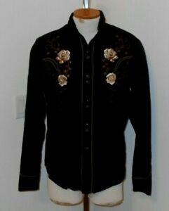 vintage Fancy  ROPER Western Shirt sz M EMBROIDERED GOLD ROSES
