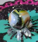 """.75"""" 🦄D.A.S. ALLEY⚡ AVENTURINE-BLACK SILVERBACK MARBLES - SWIRL TOYS! NM-MINT"""