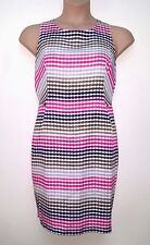 NEXT IVORY WITH PINK & OLIVE DOTS, TAILORED, LINED, TEXTURED SLEEVELESS DRESS 18