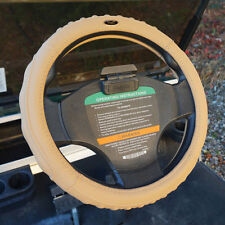 "Golf Cart Steering Wheel Cover Leather GOLF STEER, Beige, 13.25""-13.6"" Wheels"