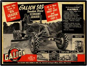 1953 Galion Road Grader New Metal Sign: Model 503 Tandem Drive - Galion, Ohio