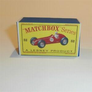 Matchbox Lesney 52 a Maserati 4CLT/1948 Empty Repro D Style Box