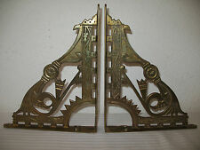 Solid Brass Shelf Brackets Art Nouveau Ornate Decorative Antique Look Pair 2