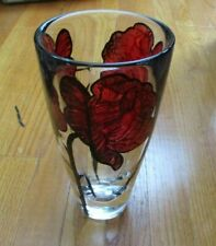 Kosta Boda / Orrefors Clear Tattoo Vase Three Red Roses NEW Hand Painted Signed