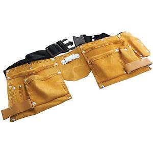 New 11 Pocket Adjustable Leather Tool Belt Pouch Carpenter Builder Construction