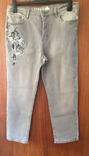 M&S Ladies Faded Black Straight Jeans with Floral Embroidery on Pocket, Size 16R