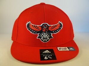 Kids Youth Atlanta Hawks NBA Adidas Fitted Hat Cap Size 6 3/4 Red