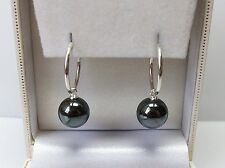 Genuine 925 Sterling Silver Sleeper Hoop Huggie & Haematite Ball Drop Earrings.