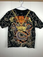 Christian Audigier Black XL Charmed Life T Shirt Snake  Rhinestones Ed Hardy