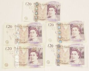 💎 100 POUNDS LOT OF 5 Great Britain - Elizabeth II, 20 Pounds, 2006, Circulated