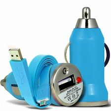 Blue Single Port USB Car Charger & Flat Data Cable For Binatone M250 Big Button