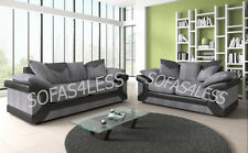 new dino 3+2 seater foam seats sofa fabric & faux leather black grey brown beige