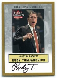 2000-01 Fleer Glossy Coach's Corner 5 Rudy Tomjanovich Auto