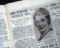 Sister AIMEE SEMPLE McPHERSON Los Angeles Woman Evangelist DEATH 1944 Newspaper